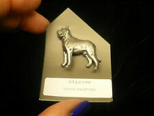 Mastiff dog lapel  pin silver colour clutch back NEW 1970's pewter (?)