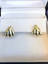 14KT YELLOW GOLD HIGHLY POLISHED  STUD EARRINGS 1 GRAM **REDUCED ***