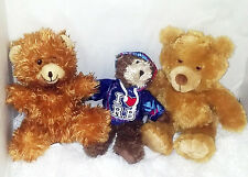 "Lot of 3 Plush Teddy Bears - Stuffed 9"", 9"" and 11 1/2"" - Clean & Nice!"