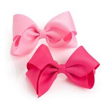 """2 Paquete De Pinzas De Cabello Moño Rosa Chicas Escuela cinta de paquete de par de accesorios de 4"""" Diapositivas"""