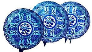 NIB SET OF 3 LARGE & HEAVY BLUE TOYO IMARI WARE DISPLAY/ SERVING PLATES NEW