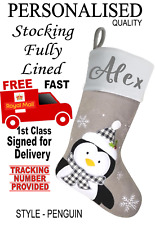 Grey PENGUIN Personalised Beautiful Quality Lined Christmas stocking