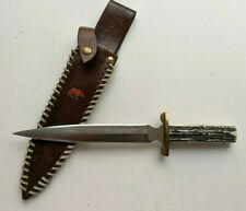 "Vintage Handmade Large dagger Fixed blade knife Maker ""Mouser"" w original Sheath"