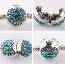 1pcs silver love ball sky blue CZ snap beads fit Charm European Bracelet AB953