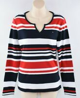 TOMMY HILFIGER Women's Long Sleeve Striped Top, White/Red/Navy, size M