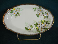"Royal Albert White Dogwood Brushed Gold 7 3/4"" Oval Relish Dish"