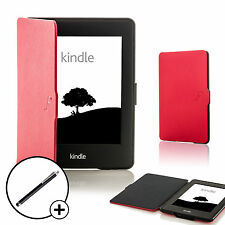 Leather Red Shell Smart Case Cover for Amazon Kindle Paperwhite 2015 + Stylus