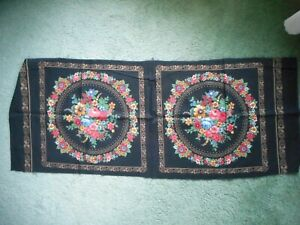 Panels, black with blue, red, green, tan & white flowers - 1 piece, 2 panels