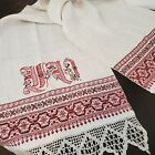 Antique Handwoven Linen Red Embroidery Monogram Table Runner Towel Farmhouse
