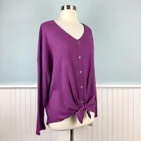Size 2X Style & Co Purple Thermal Hi Low Boho Top Blouse Shirt Women's Plus NWT