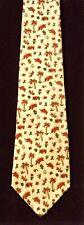 Ferragamo Tie. Yellow with Elephants & Flowers.100 % Silk. Made in Italy
