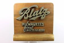 Rare 1940's  BLATZ Beer Wooden Sign Cash Register Topper