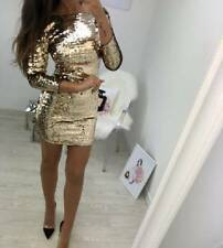 UK Women Sequin Bodycon Evening Party Long Sleeve Sparkly Sexy Short Mini Dress