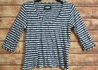 M&S Marks & Spencer FLORAL Print Top 3/4 Sleeve Blue/Purple Stripe PER UNA UK18