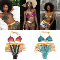 New Women's Bikini Set Push-up Padded Bra Bathing Suit Swimsuit Boho Swimwear AU