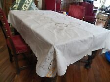 NEVER USED CUT WORK AND EMBROIDERED TABLECLOTH AND 8 NAPKINS 72 X 90
