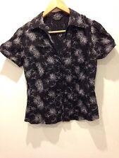 F&F Camisa Blusa Top De Manga Corta Negro Blanco con dibujos talla 14 - < E2801