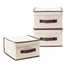 Pack of 3 Foldable Polyester Canvas Storage Box, Convenient Storage Box with Lid