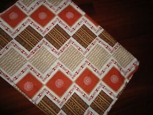 VINTAGE MARLBOROUGH TRIBAL SOUTHWESTERN TAN RUST BROWN TWIN FLAT SHEET 64 X 90