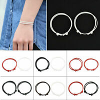 2Pcs/set Wax Rope Cord Couple Anklets Handmade Adjustable Lucky Ankle Bracelet