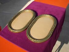 (2) Matched Antique Victorian Oval Picture Frames Convex Bubble Glass ~ Nice ~