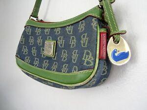 Authentic Small DOONEY & BOURKE Handbag Purse Denim Blue Green Cute Fob
