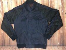 ZARA MAN Dark Blue & Black Embroidered Full Zipper Crew Neck Bomber Jacket L