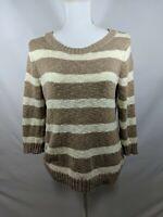 Old Navy Knit Striped Sweater Cotton Beige White Women's Juniors L 3/4 Sleeve