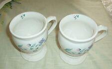 2 Pfaltzgraff Pedestal Coffee Mugs APRIL Made in USA Violets Floral