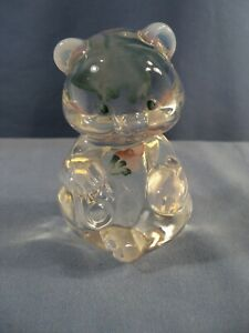Fenton Painted Opalescent Glass Sitting Bear Figurine Pinkish Flowers INV2