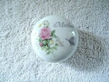"""Vintage Napcoware Small Ceramic Round """" Mother """" Floral Themed Trinket Box"""