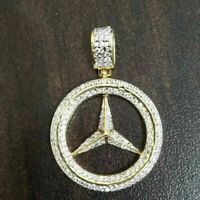 1.20cts Mercedes Benz Logo Diamond Pendant in 14k Yellow Gold Over