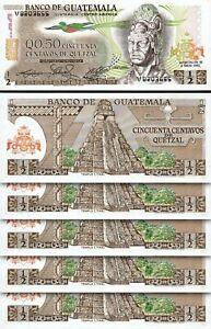 Guatemala 1/2 Quetzal 1982, UNC, 5 Pcs LOT, Consecutive, P-58c