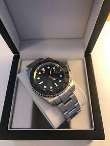 Men's Black Watch, Automatic Yacht Style With Ceramic Bezel + Presentation Box
