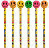 6 Smiley Pencils & Erasers - Pinata Rubbers Loot/Party Bag Fillers Wedding/Kids
