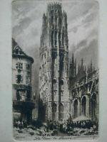 Gravure Rouen eau-forte La Tour de Beurre par Charles Pinet XIXème