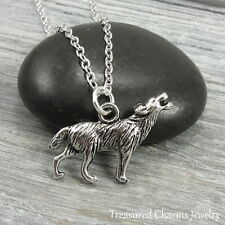 Silver Wolf Charm Necklace - Howling Werewolf Coyote Pendant Jewelry NEW