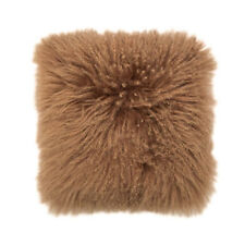 Bambury Mongolian Lambswool Square Filled Cushion 40cm X 40cm Mocha