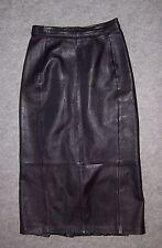 Superbe JUPE longue en CUIR noir, Taille 36 (Tour de taille 66cm) ----- (JC_075)
