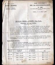 """Concessionnaire AUTOMOBILE CITROEN / MOTEUR DIESEL """"NOTE TECHNIQUE N°382"""" en1939"""