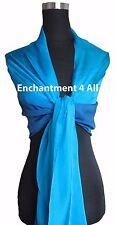 New Shaded 100% Pure Silk Oblong Scarf Shawl Wrap, Shaded Blue