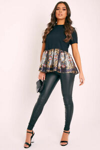 UK Womens Short Sleeve Puff Baroque Frill Hem Tops Ladies Casual T-Shirt Blouse