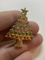 Vintage Gold Tone Colorful Rhinestone Christmas Tree Pin / Brooch