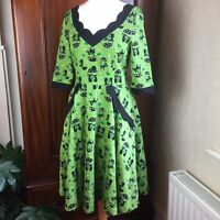 Voodoo Vixen Katnis Cat Green Rockabilly 1950s Retro Flared Dress Size XL / 14