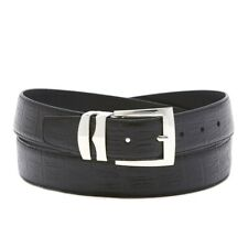 Wide Bonded Leather Belt HORNBACK Pattern Colors Silver-Tone Buckle XL Sizes