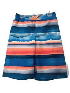 ZeroXposur Boys Swim Trunks Shorts  Size S-8 Small Aqua Blue Orange Gray
