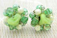 Japan Green Crystal Glass Art Bead Beaded Clip-On Earrings Vintage Gold Tone