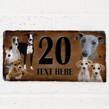 Personalised Whippet Puppy Dog Gate Door House Slate Sign Name Number Plaque