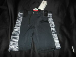 Bnwts Boys swimming trunks black with white stripes Fits 6-8 Years
