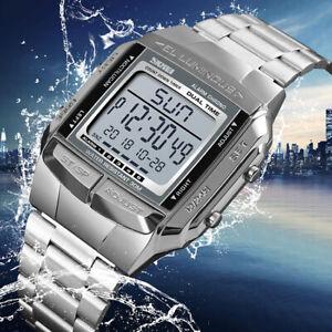 Men's Casual Sport Watch Digital Quartz LED Stainless Steel Waterproof Watches